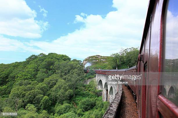Steam train on glenfinnan viaduct