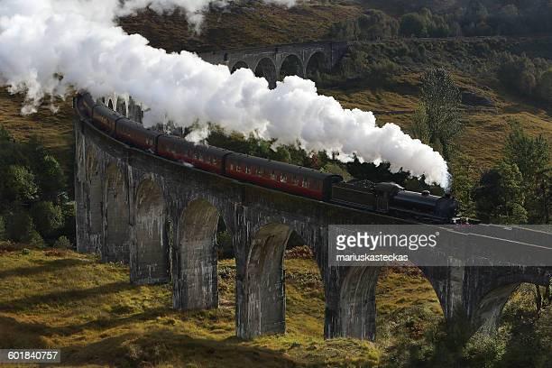 Steam train on the Glenfinnan Viaduct, Lochaber, Highlands, Scotland, UK