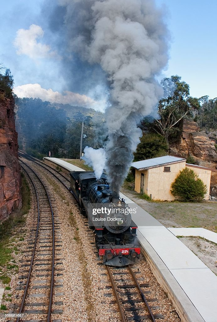 Steam Train traveling down line at Zig Zag railway Lithgow Australia