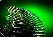 Steam turbine on green background. 3d rendering.