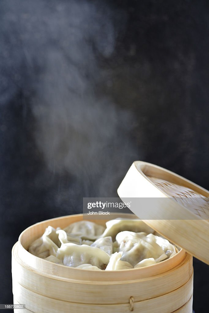 Steamed Asian dumplings : Stock Photo