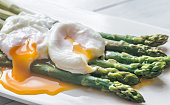 Steamed asparagus with poached eggs on the plate