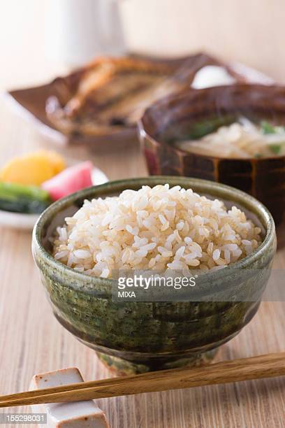 Steamed Brown Rice with Side Dishes