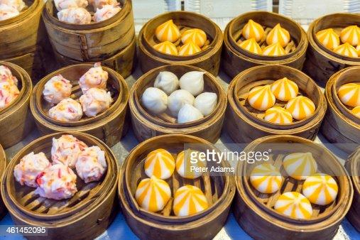 Steamed buns or dumplings, Donghuamen Night Market : Stock Photo