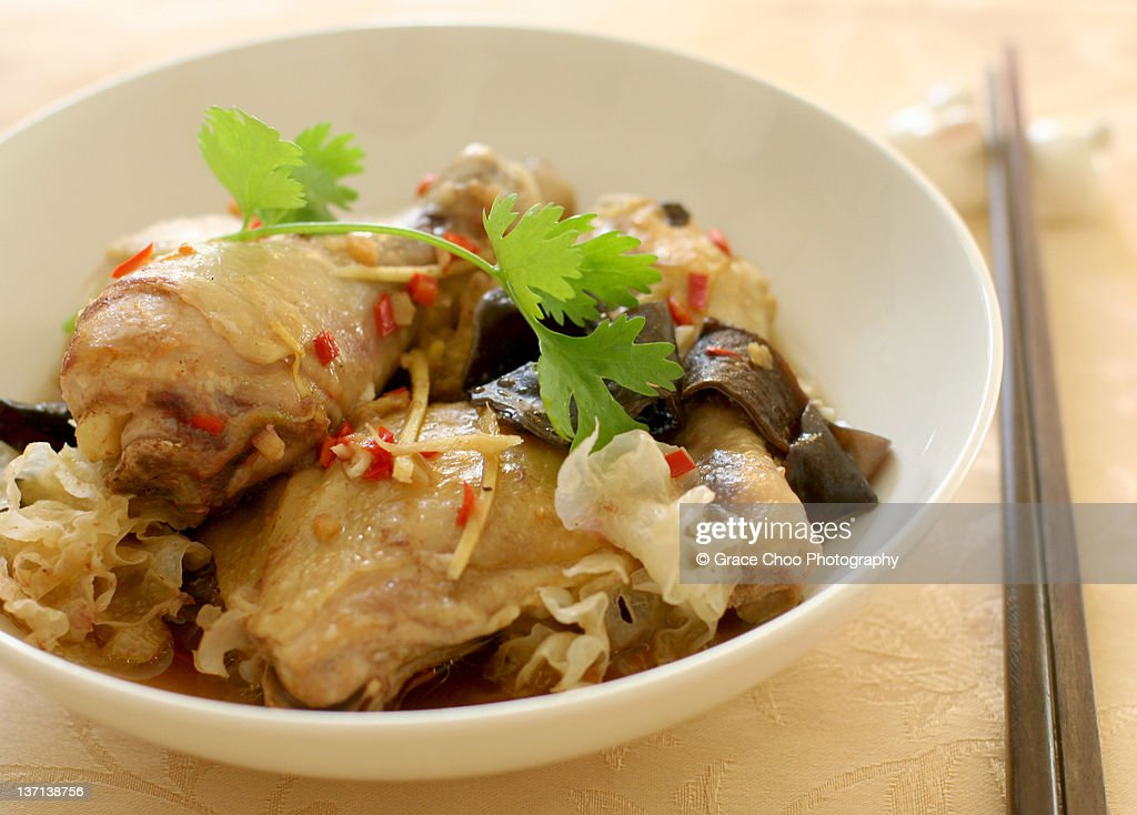 Steamed chicken with salted fish and fungus : Stock Photo