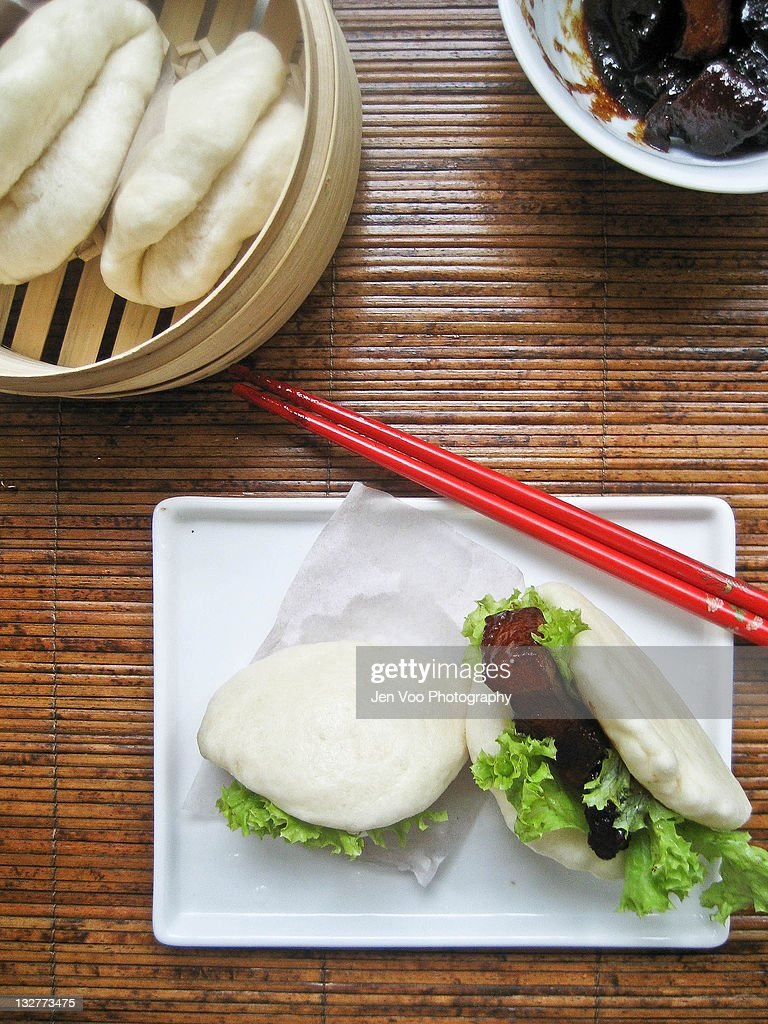 Steamed Chinese braised pork buns : Stock Photo
