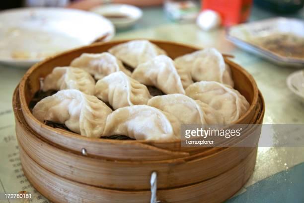 Steamed dumplings in a steaming basket
