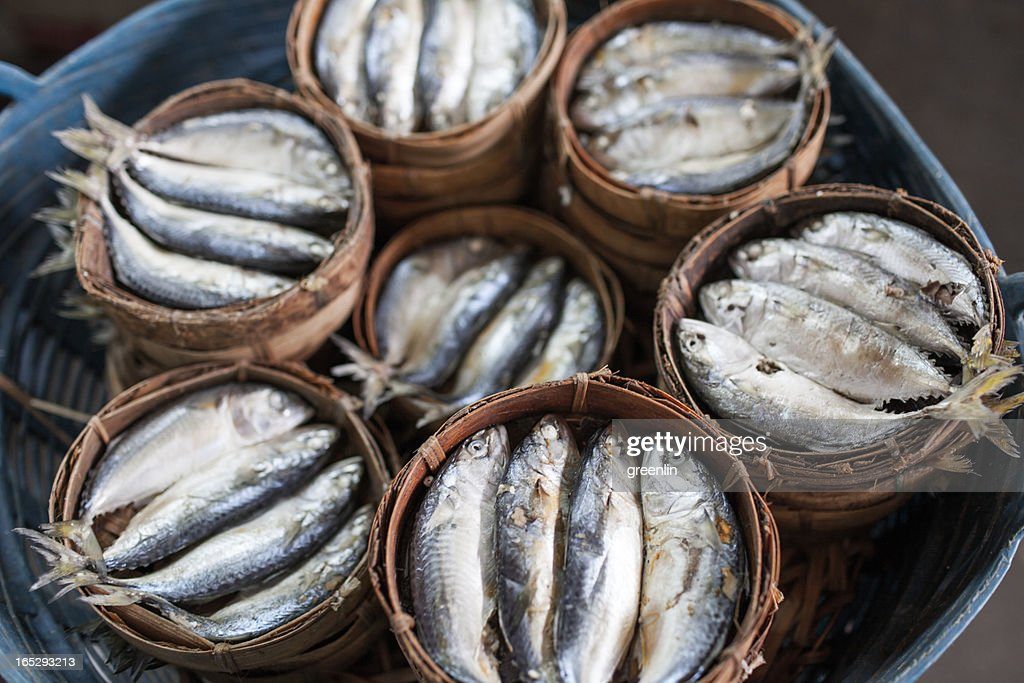 Steamed fish, fish in bamboo steamers. Chiang Mai, : Stock Photo