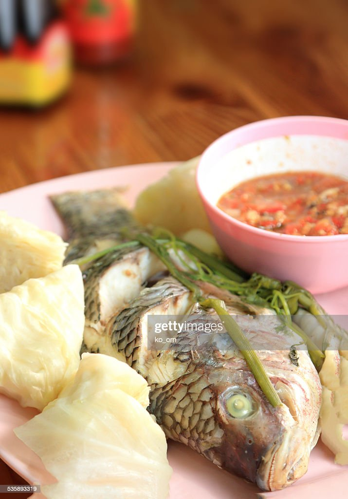 Steamed fish with vegetable. : Stock Photo