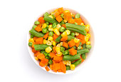 Steamed Mixed Vegetables Isolated on a White Background