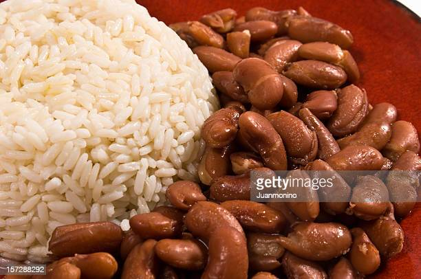 Steamed rice and beans
