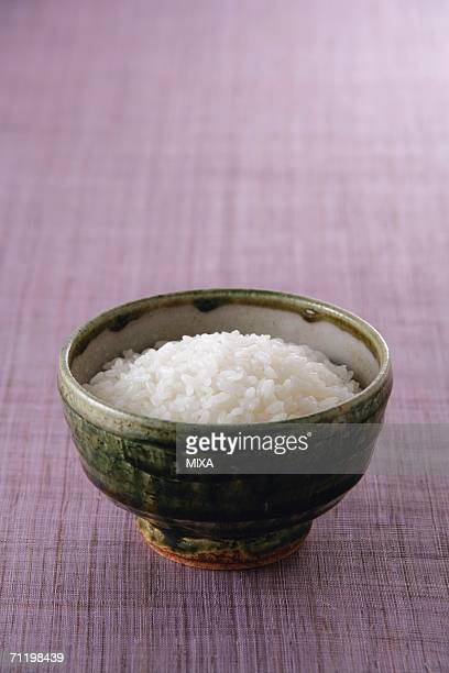 Steamed rice in a rice bowl