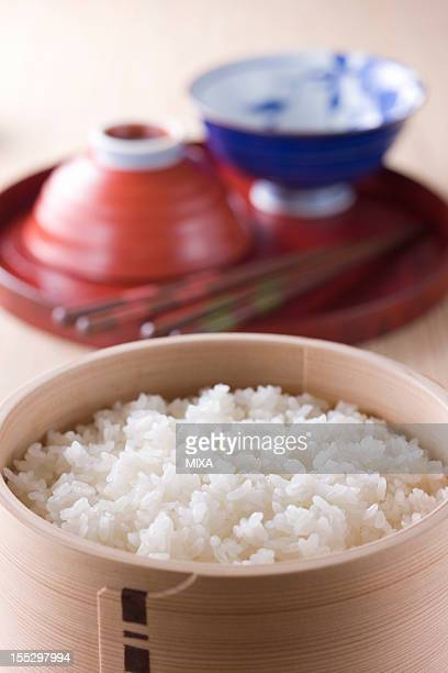 Steamed Rice in Wooden Tub
