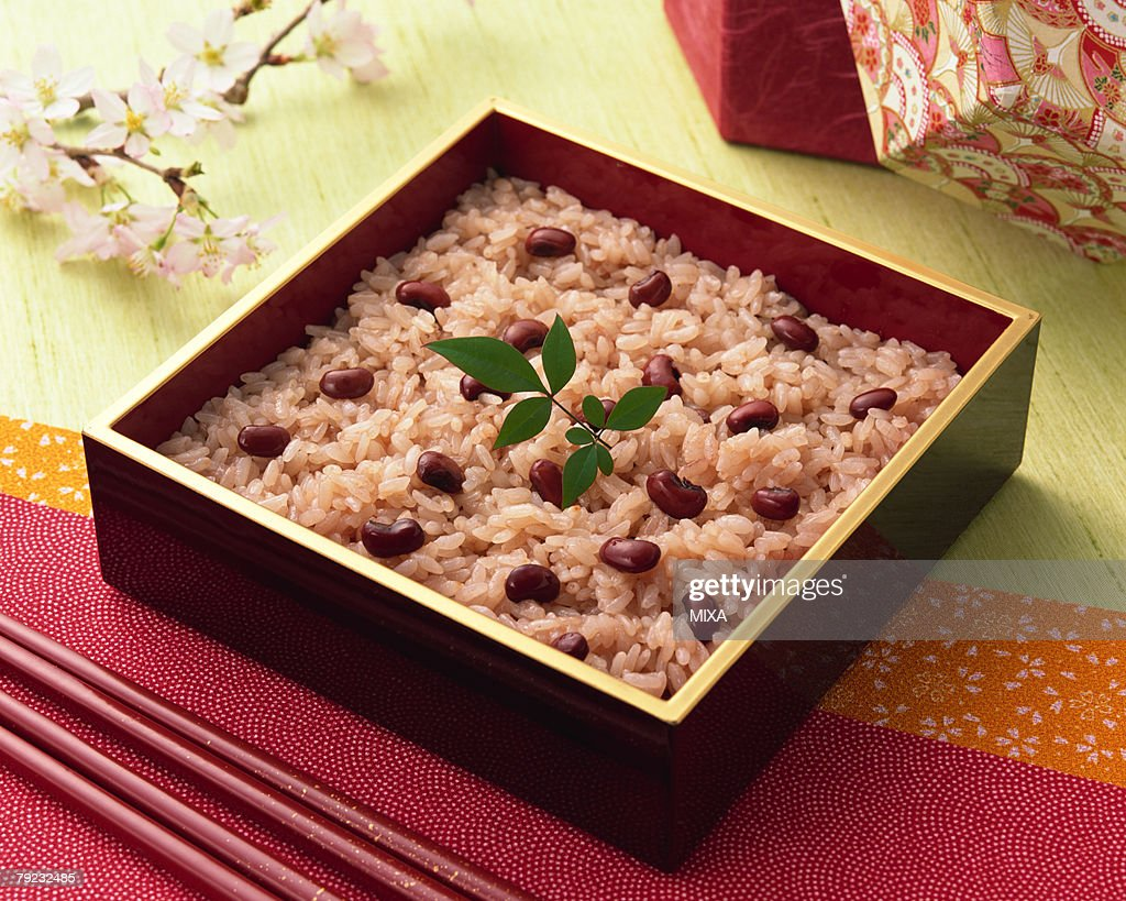 Steamed rice with adzuki : Stock Photo