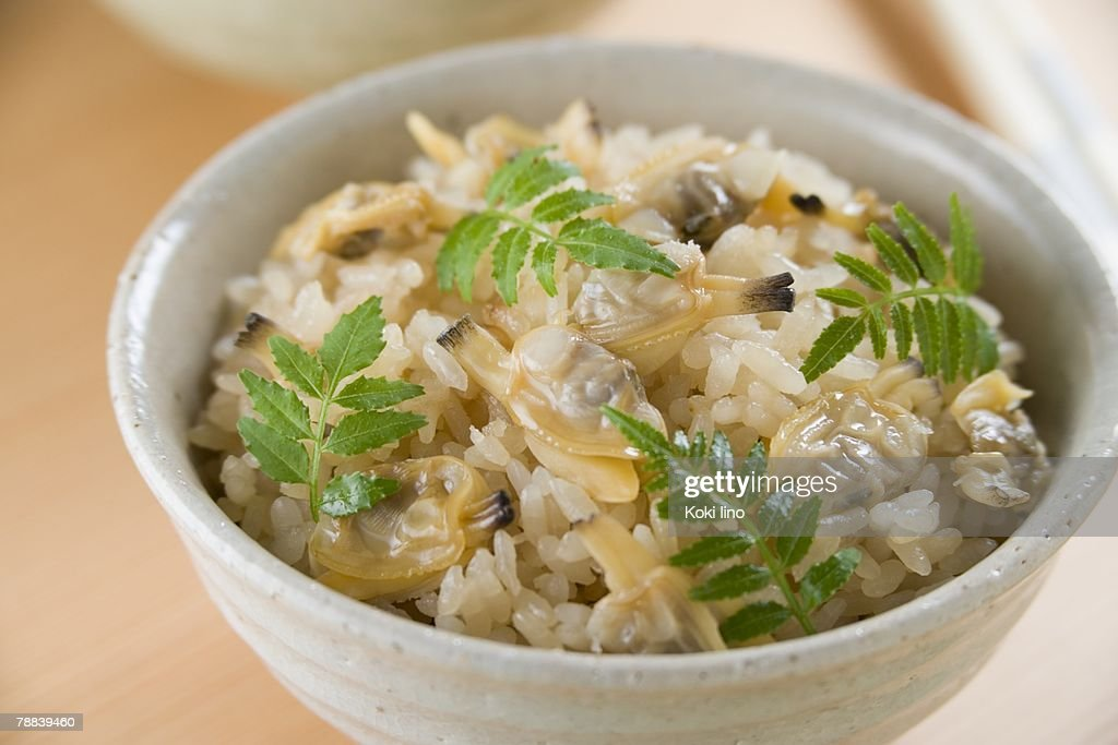 Steamed rice with clams : Stock Photo