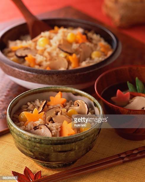 Steamed rice with matsutake mushrooms