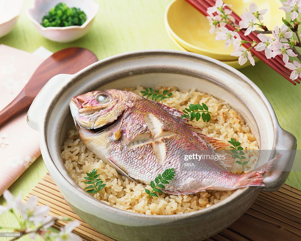 Steamed rice with red snapper : Stock Photo