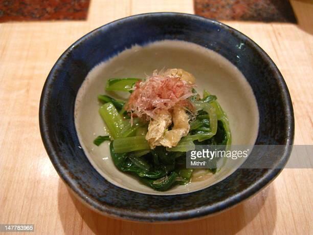 Steamed vegetables in Japanese kaiseki dinner