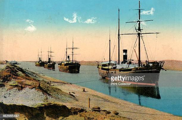 Steamers passing through the Suez Canal Egypt 20th century