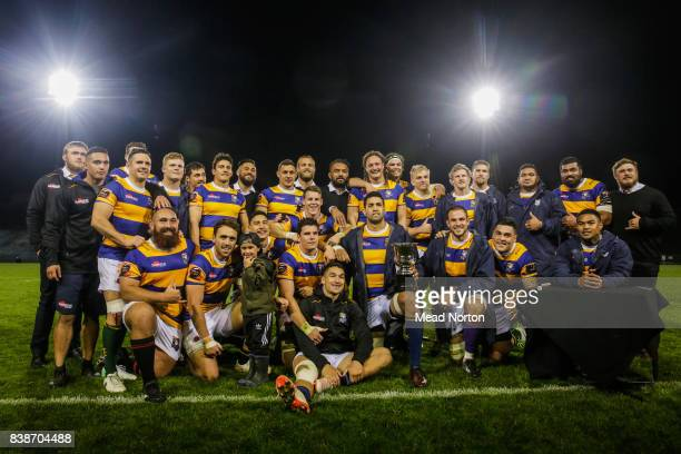 Steamers posing with the MacraeShelford Cup a new cup challenge for the Mitre 10 Cup tournament at Rotorua International Stadium on August 25 2017 in...