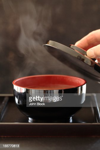 Steaming bowl of miso soup : Stock Photo
