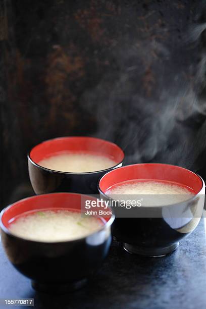 Steaming bowls of miso soup
