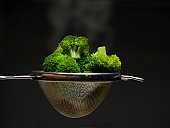 Steaming broccoli in strainer