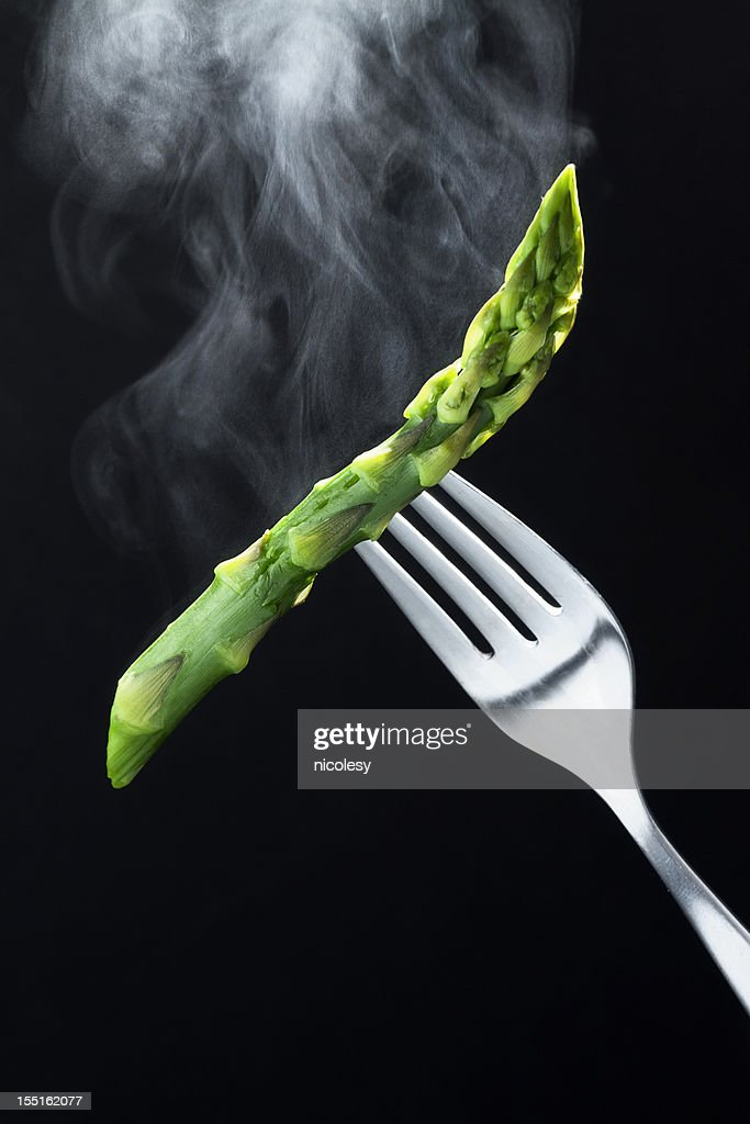 Steaming Hot Asparagus on a Fork