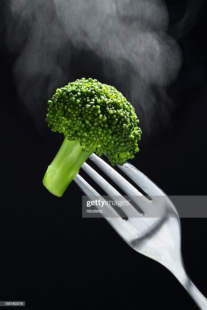 Steaming Hot Broccoli on a Fork