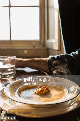 Steaming Langoustine soup