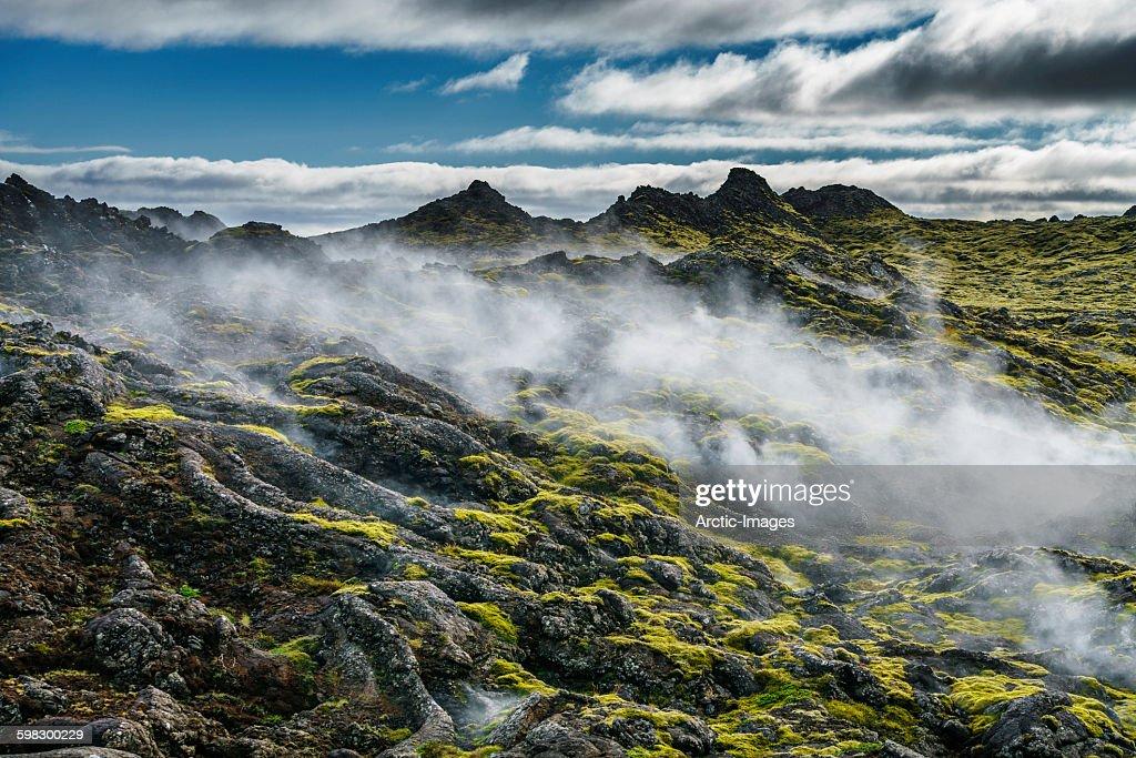 Steaming lava fields in Reykjanes, Iceland
