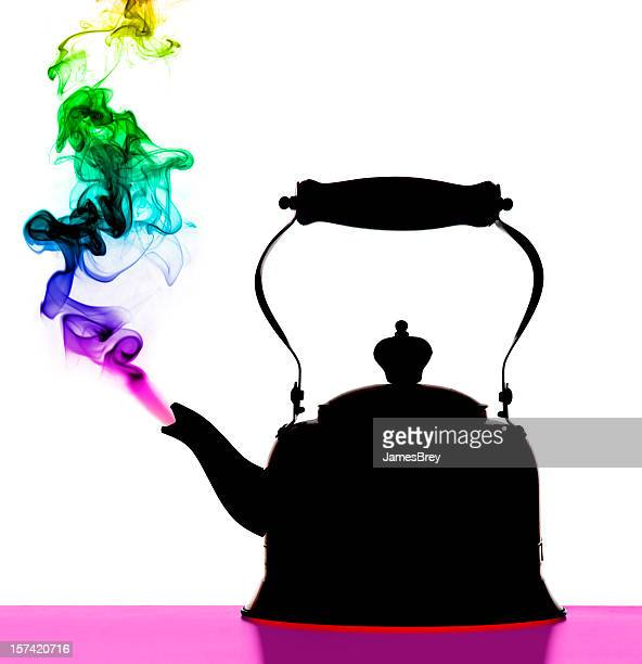 Steaming Tea Pot; Colorful Abstract Psychedelic Art Vision