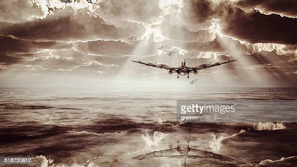 Steampunk flying maching over the flat landscape