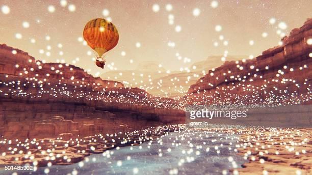 Steampunk Heißluftballon fliegt über fantasy Landschaft