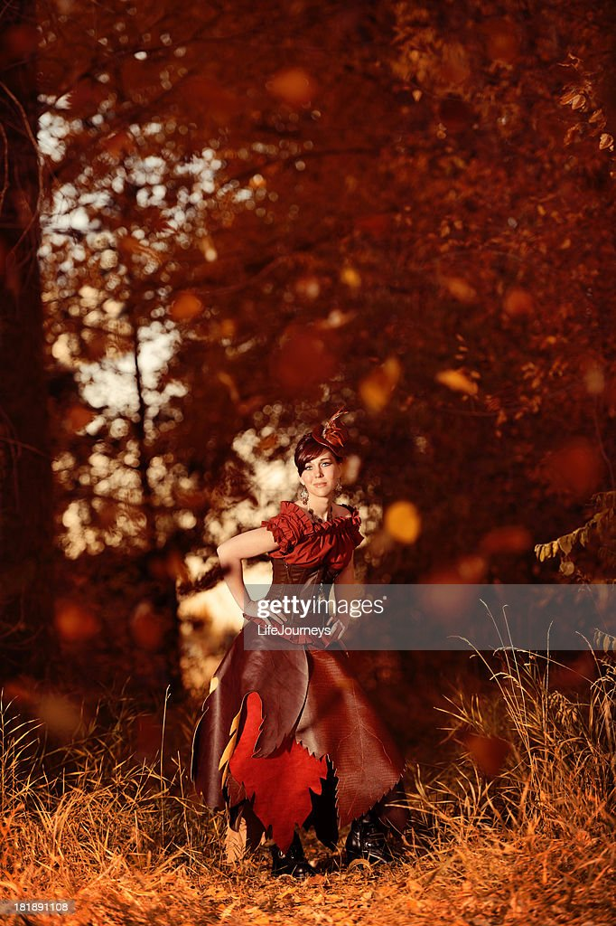 Steampunk Woman In Forrest Of Falling Leaves - Autumn's Arrival