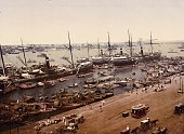 Steamships and fishing craft in the harbour at Calcutta