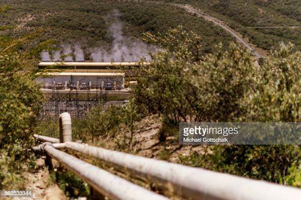 SteamTubes at environmentally friendly and renewable energy generation in the KenGen or Kenya General Energy Olkaria geothermal power station II in...