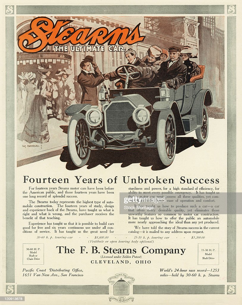 A Stearns automobile is shown in a magazine advertisement from 1910 The prices listed are $4600 for the 30 60 horsepower model and $3200 for the 15...
