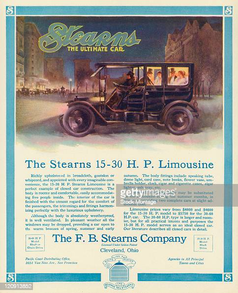 """A Stearns Limousine automobile on a city street at night in winter is shown in a magazine advertisement from 1911 The ad states """"Richly upholstered..."""