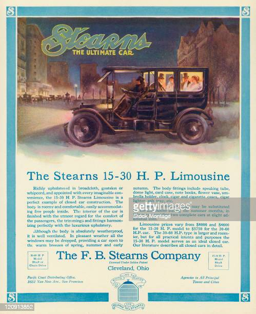 "A Stearns Limousine automobile on a city street at night in winter is shown in a magazine advertisement from 1911 The ad states ""Richly upholstered..."