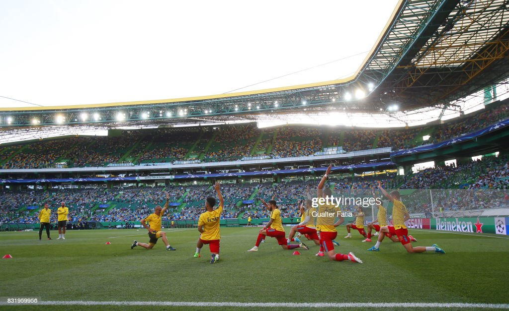 Steaua Bucuresti FC players in action during warm up before the start of the UEFA Champions League Qualifying Play-Offs Round - First Leg match between Sporting Clube de Portugal and Steaua Bucuresti FC at Estadio Jose Alvalade on August 15, 2017 in Lisbon, Portugal.