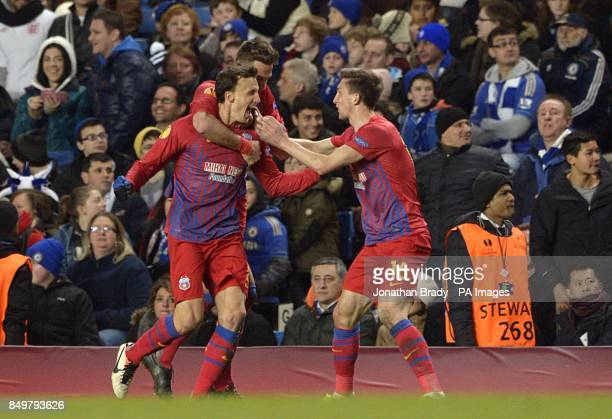 Steaua Bucuresti's Vlad Chiriches celebrates scoring his side's first goal