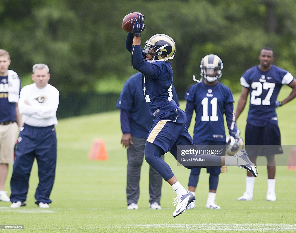 <a gi-track='captionPersonalityLinkClicked' href=/galleries/search?phrase=Stedman+Bailey&family=editorial&specificpeople=7256977 ng-click='$event.stopPropagation()'>Stedman Bailey</a> (12) of the St. Louis Rams makes a leaping catch during the 2013 St. Louis Rams rookie camp at Rams Park on May 10, 2013 in Earth City, Missouri.