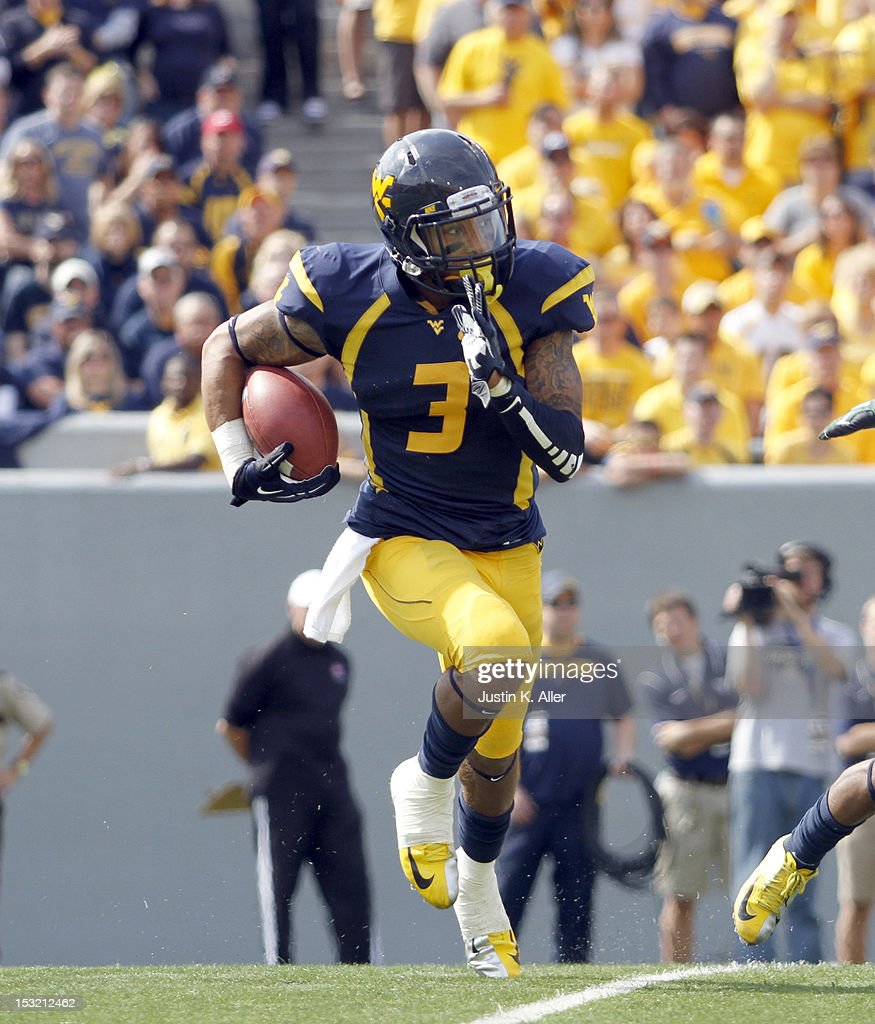 Stedman Bailey of the West Virginia Mountaineers carries the ball against the Baylor Bears during the game on September 29 2012 at Mountaineer Field...