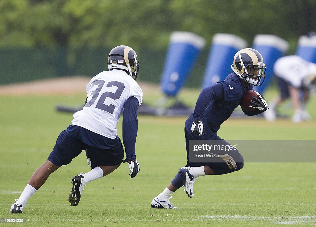 <a gi-track='captionPersonalityLinkClicked' href=/galleries/search?phrase=Stedman+Bailey&family=editorial&specificpeople=7256977 ng-click='$event.stopPropagation()'>Stedman Bailey</a> (12) runs past Brandon McGee (32) of the St. Louis Rams during the 2013 St. Louis Rams rookie camp at Rams Park on May 10, 2013 in Earth City, Missouri.