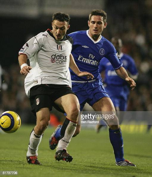 Steed Malbranque of Fulham clashes with Frank Lampard of Chelsea during the Barclays Premiership match between Fulham and Chelsea on November 13 2004...