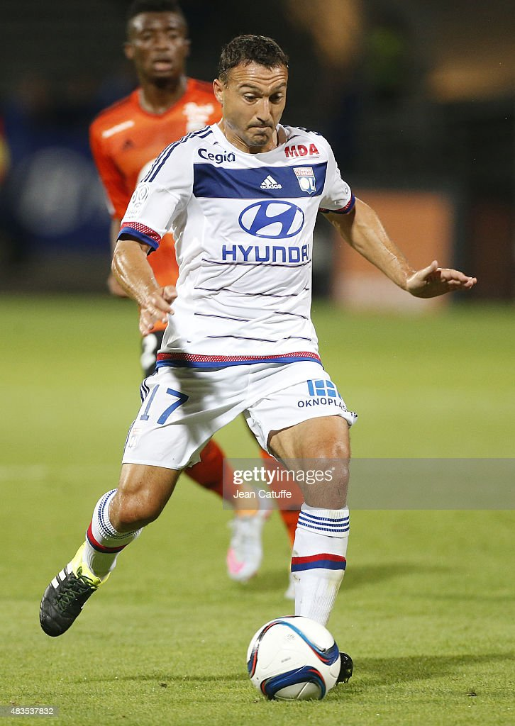 <a gi-track='captionPersonalityLinkClicked' href=/galleries/search?phrase=Steed+Malbranque&family=editorial&specificpeople=206647 ng-click='$event.stopPropagation()'>Steed Malbranque</a> of Lyon in action during the French Ligue 1 match between Olympique Lyonnais (OL) and FC Lorient at Stade de Gerland on August 9, 2015 in Lyon, France.