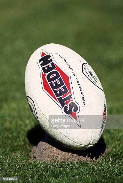 Steeden rugby league ball is seen during a rugby league match between Manly and Parramatta held at Brookvale Oval 1996 in Sydney Australia