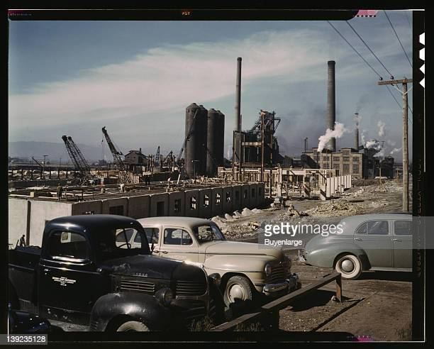 Steel and concrete go into place rapidly as a new steel mill takes form Columbia Steel Co Geneva Utah 1942