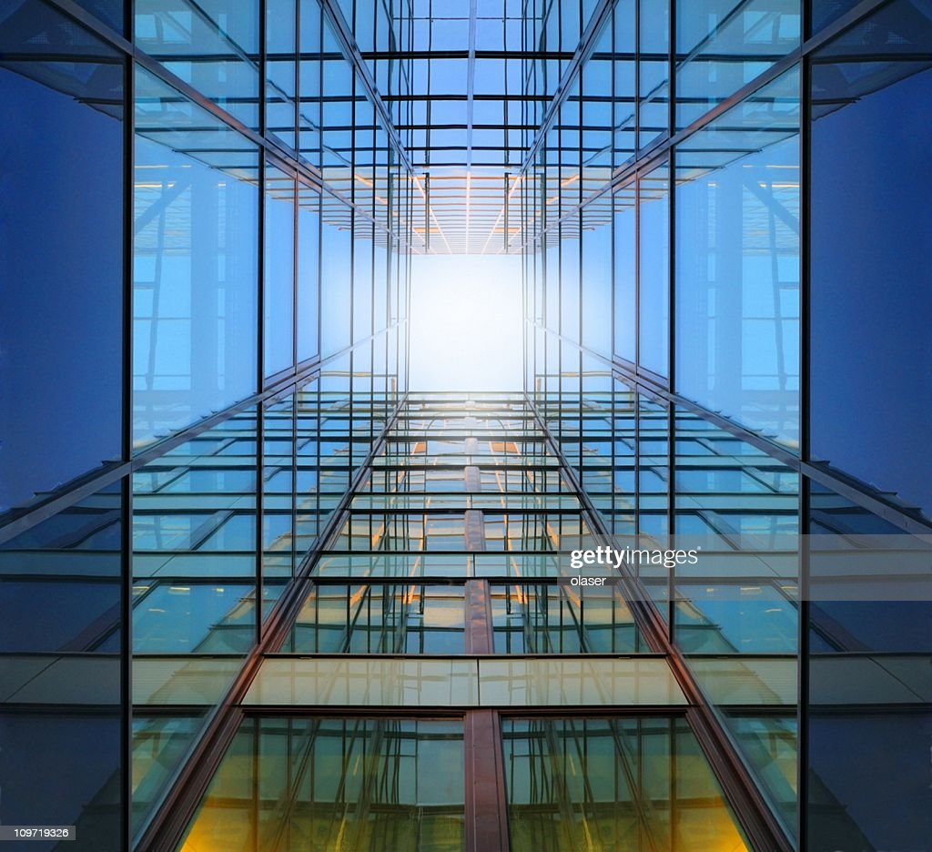 Steel and glass finance building : Stock Photo